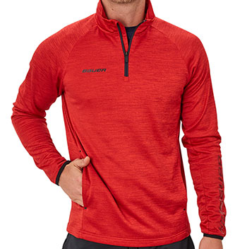 Bauer Fleece 1/4 Zip Top Vapor Senior Rot